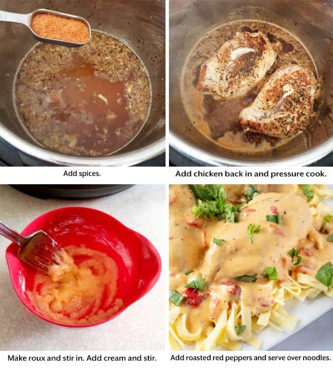 Four images showing the addition of spices and cooking the chicken to make Pressure cooker Cajun Chicken Breasts
