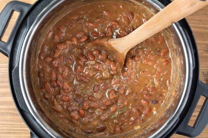 Instant Pot Mexican Pinto Beans looking into the pot