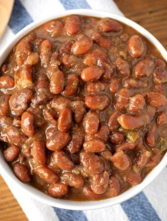 Instant Pot Mexican Pinto Beans in white bowl