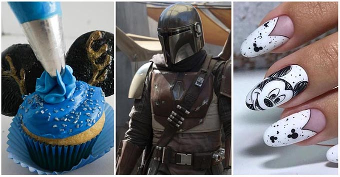three images showing decorating cupcakes, a Star Wars show, and nails with images of Mickey Mouse
