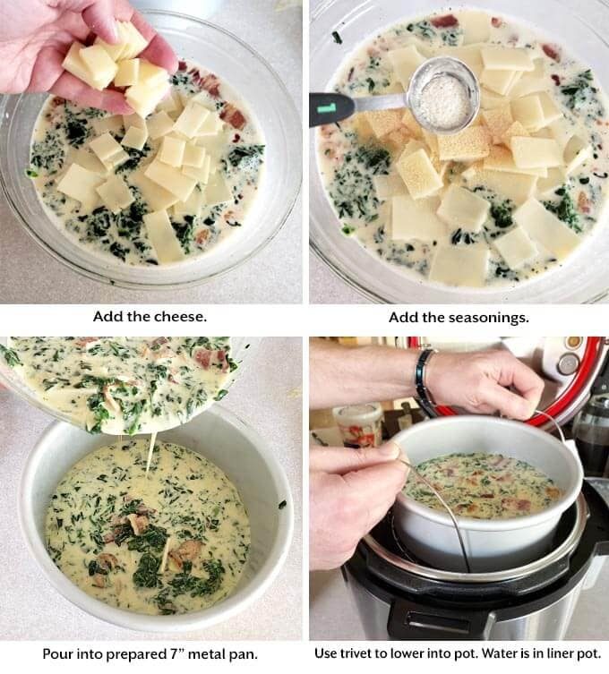 four images showing the addition of cheese, seasonings and placing quiche into pressure cooker