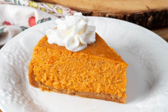 Pie slice on a white plate
