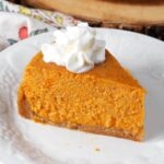 Instant Pot Sweet Potato Pie slice on a white plate