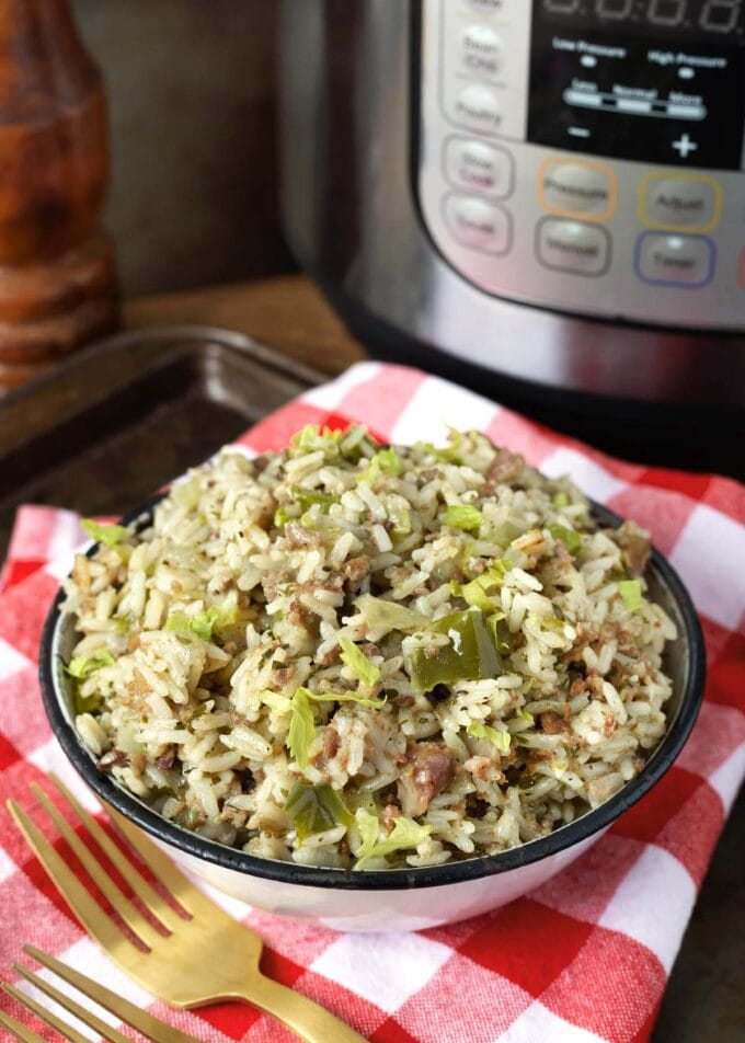 Instant Pot Dirty Rice in a white bowl in front of the pot