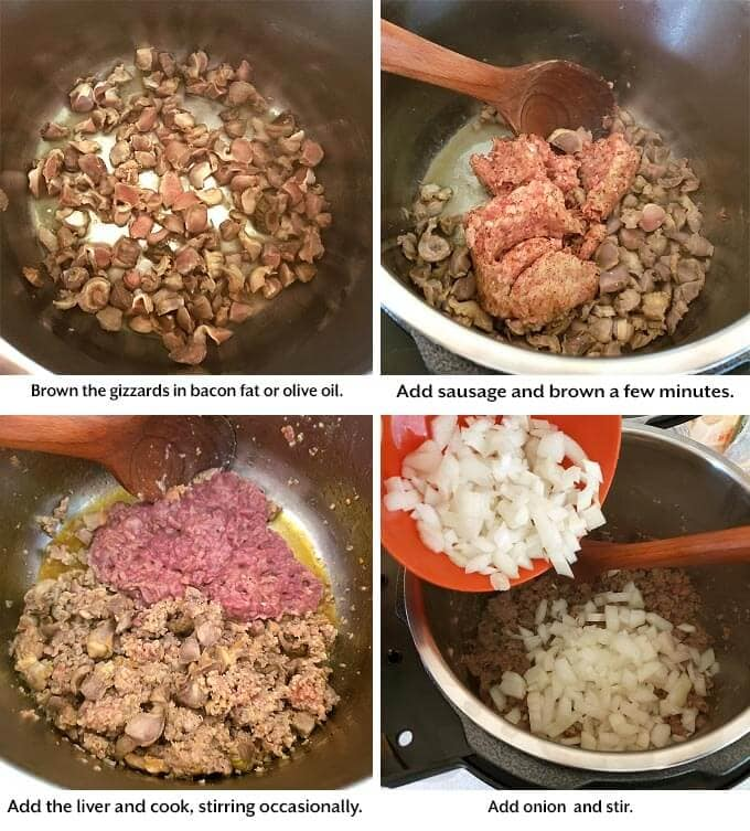 gizzards, sausage, and livers and onion being sautéed