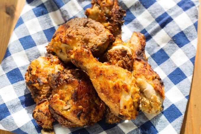 air fryer fried chicken on a blue and white checkered cloth