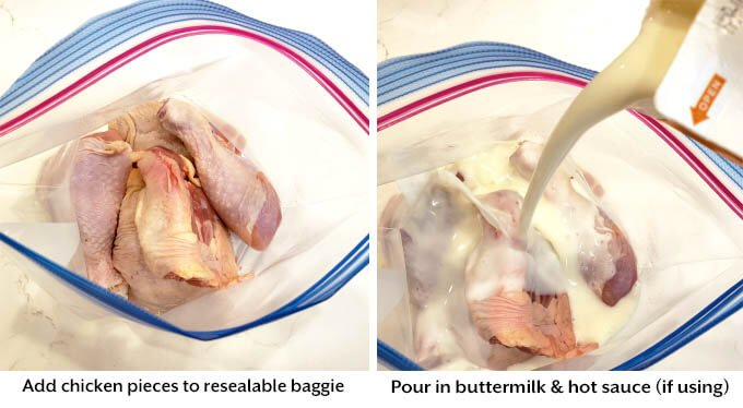 chicken pieces in baggie with buttermilk being poured over