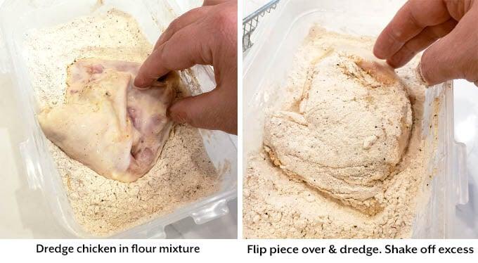 dredging chicken in flour mixture