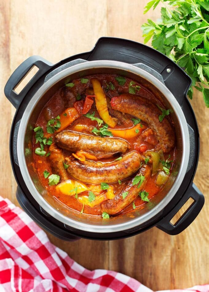 Instant Pot Sausage and Peppers in the pot from above