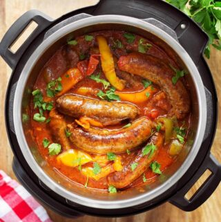 Instant Pot Sausage and Peppers in the IP from above