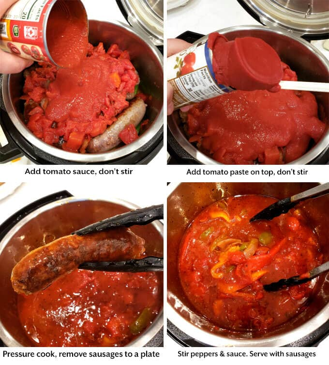 adding the tomato sauce and paste to pot, removing sausages after cooking