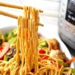 Instant Pot Lo Mein noodles close up