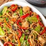 Instant Pot Lo Mein in a white dish