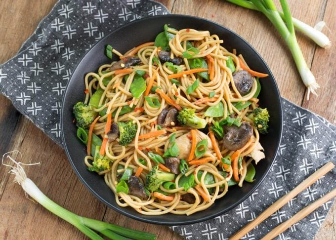 Instant Pot Lo Mein in a black bowl