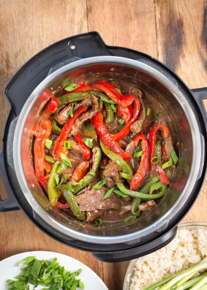 Instant Pot Pepper Steak in the pot from above