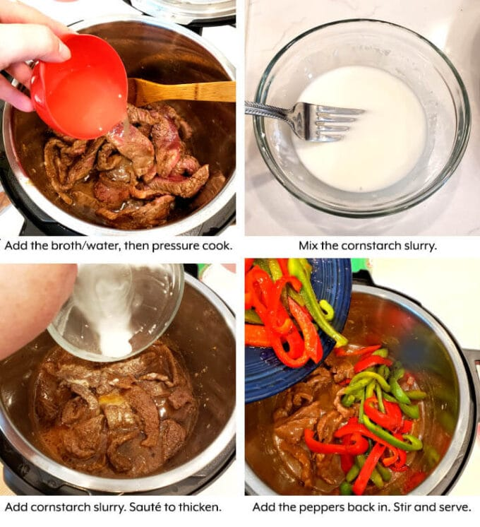 Pepper Steak in pot with sauce being added, 4 image collage