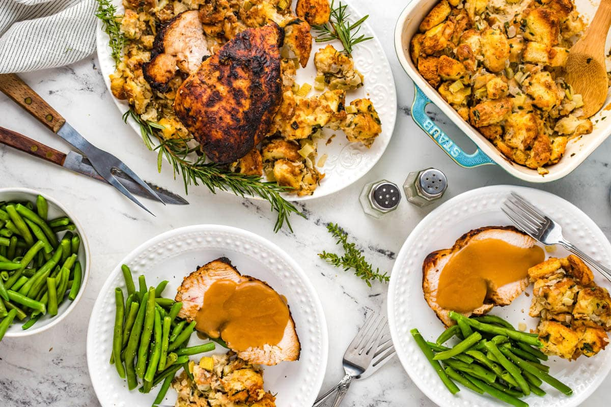 Turkey Breast and stuffing table setting