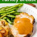 Air Fryer Turkey Breast on a white plate
