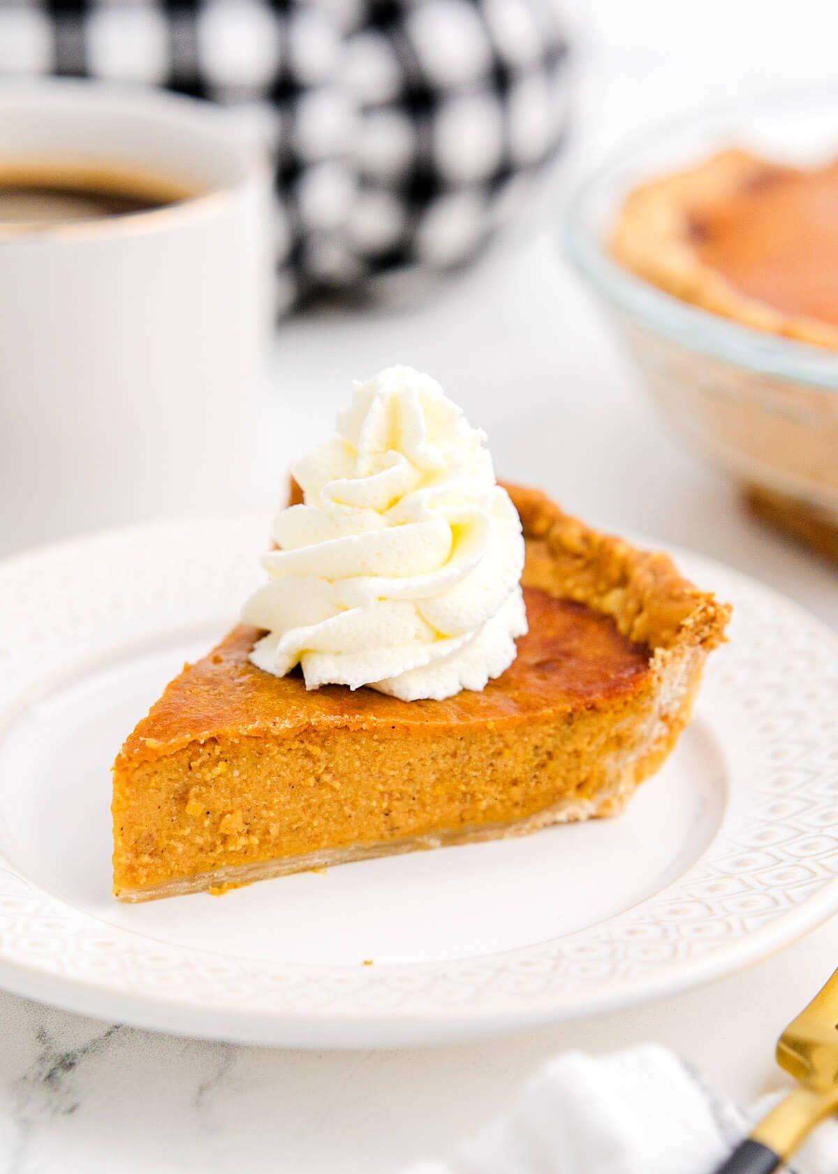 Air Fryer Pumpkin Pie on a white plate