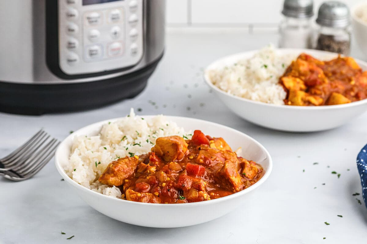 white bowl of chicken curry and rice in front of pot