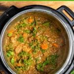 Instant Pot Lentil Beef Stew in the pot