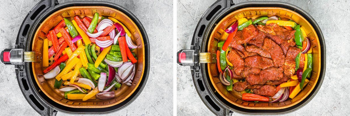 cooking veggies and meat in basket